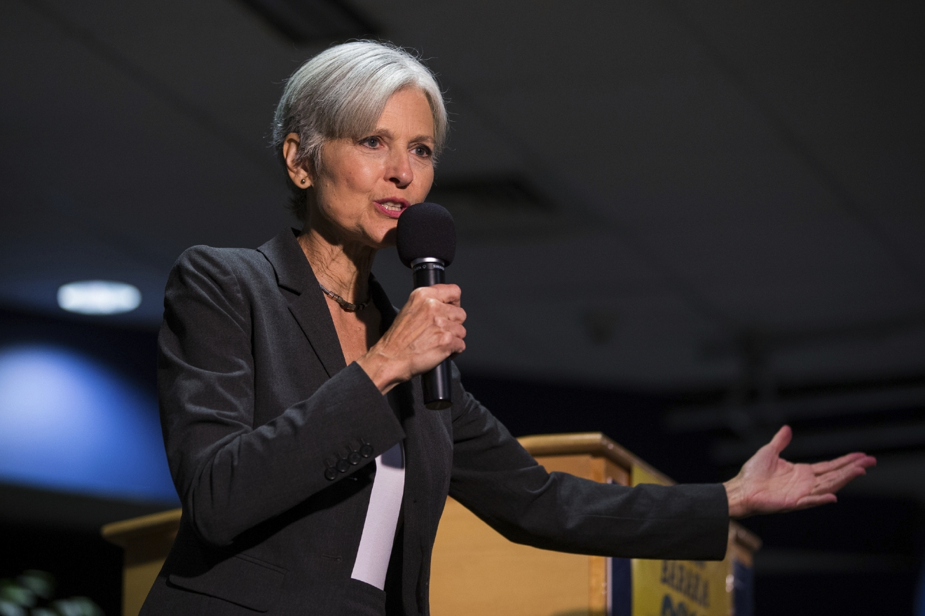 FILE - In this Sept. 21, 2016 file photo. Green Party presidential candidate Jill Stein delivers remarks at Wilkes University in Wilkes-Barre, Pa. Green Party-backed voters dropped a court case Saturday night, Dec. 3, 2016, that had sought to force a statewide recount of Pennsylvania's Nov. 8 presidential election, won by Republican Donald Trump, in what Green Party presidential candidate Stein had framed as an effort to explore whether voting machines and systems had been hacked and the election result manipulated. (Christopher Dolan/The Citizens' Voice via AP, File)