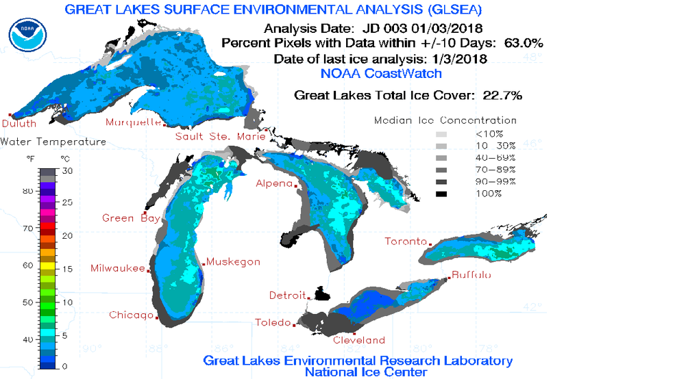 Great Lake Ice Coverage where are they at WPBN