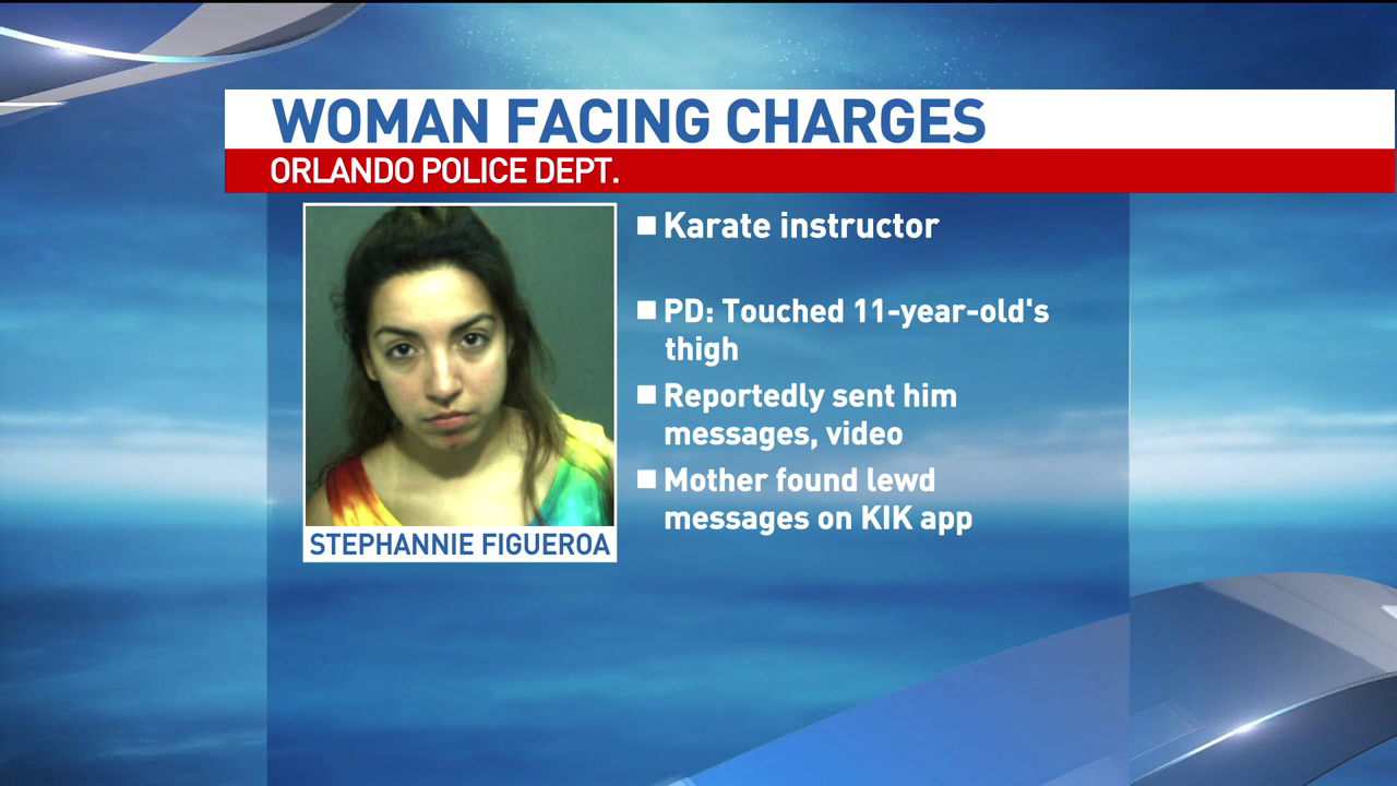 Karate instructor Stephanie Figueroa is accused of sending lewd messages to an 11-year-old student.  Image Courtesy: Orlando Police Dept.