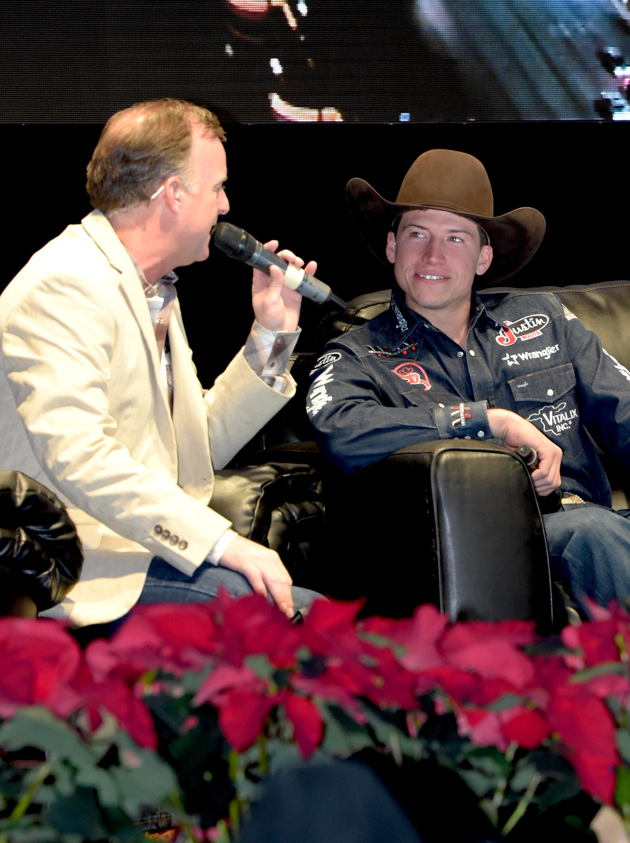Outside the Barrel with Flint Rasmussen as he interviews Bull Rider Cody Webster on the Rodeo Live Stage during Cowboy Christmas at the Las Vegas Convention Center . Sunday December 10, 2017. [Glenn Pinkerton/Las Vegas News Bureau]
