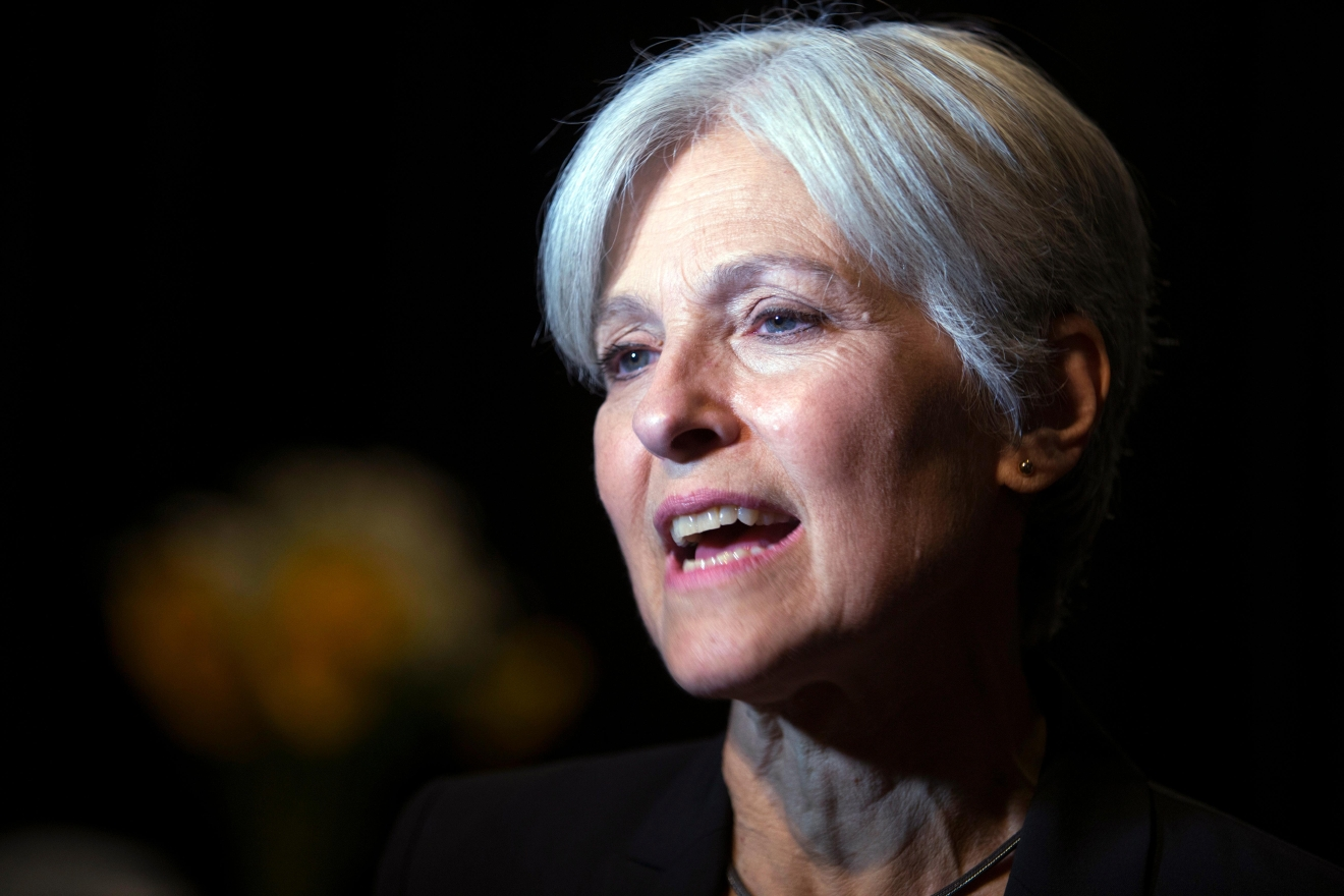 FILE - In this Oct. 6, 2016 file photo, Green party presidential candidate Jill Stein meets her supporters during a campaign stop at Humanist Hall in Oakland, Calif. (AP Photo/D. Ross Cameron)