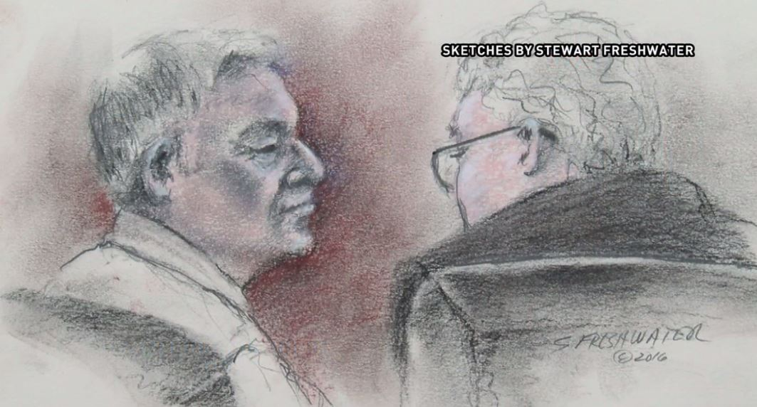 Cliven Bundy (left) appears in federal court Wednesday, May 25, 2016, in downtown Las Vegas. [Sketch courtesy of Stewart Freshwater]