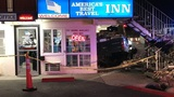 Driver seriously injured after car rolls over, crashes into Reno motel lobby