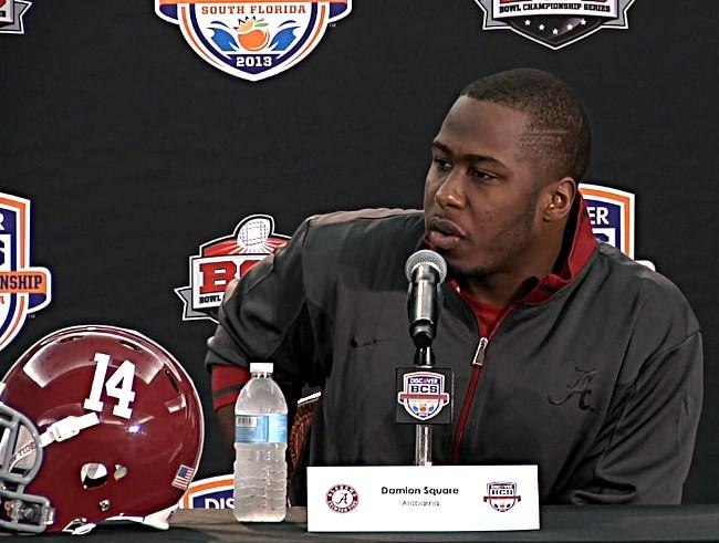 Alabama defensive lineman Damion Square during BCS National Championship news conference on Friday, January 4, 2013.