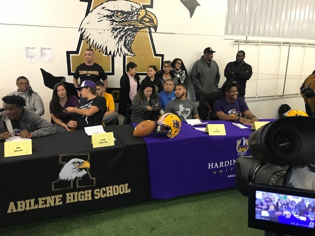 Abilene High signing day: Raekwon Millsap, Jacob Johnston, Aj Gonzales and Terell Franklin all signed with Hardin-Simmons University for football.<p></p>