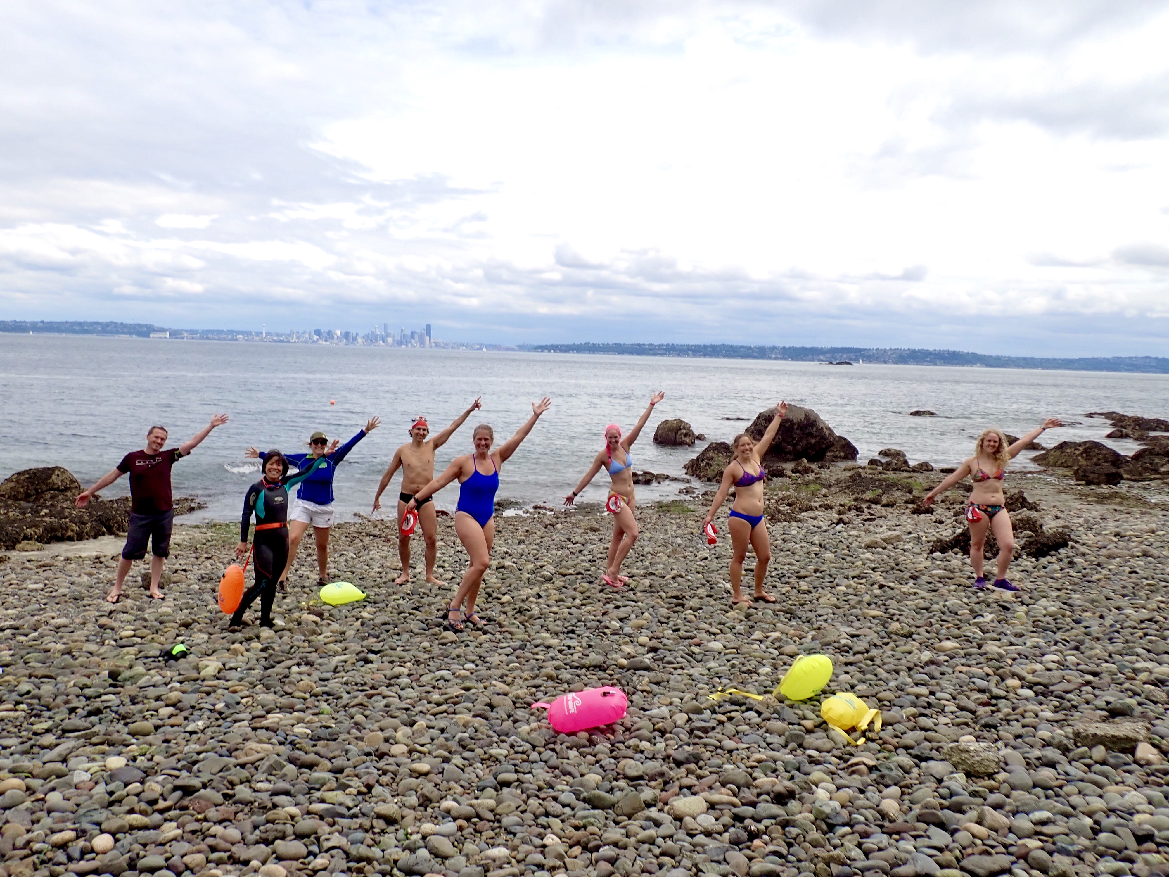 Alki swimmers, BI swimmers and paddle support for the last swim into Blakely Harbor- Rockaway Beach. (Image:{ }Kelly Danielson)