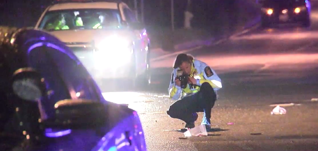 Police on the scene of a deadly crash late Wednesday night involving a MCPD cruiser and motor scooter late Wednesday night in Wheaton, Md.  Thursday, Sept. 7, 2017 (ABC7 photo)
