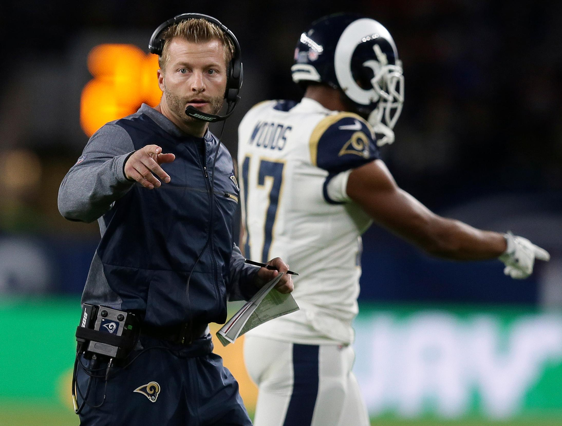 FILE -- In this Oct. 22, 2017, file photo, Los Angeles Rams head coach Sean McVay walks on the field during the first half of an NFL football game against Arizona Cardinals at Twickenham Stadium in London.  (AP Photo/Tim Ireland, File)