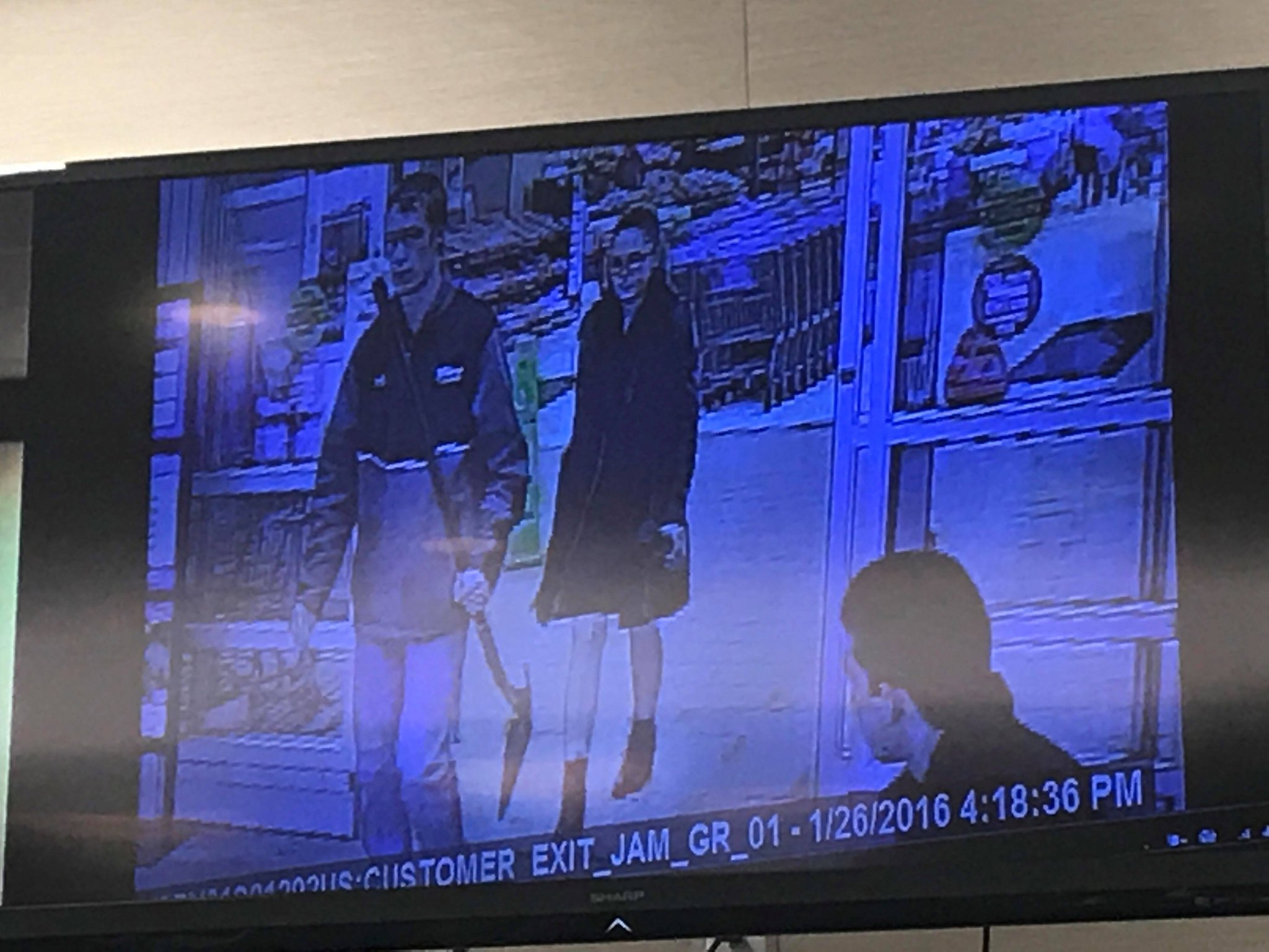 Detective Twigger testified that these pictures are from the Walmart in Christiansburg. They show Eisenhauer and Natalie Keepers going into the store and buying a shovel. They are also on camera paying cash for the shovel.<p></p>