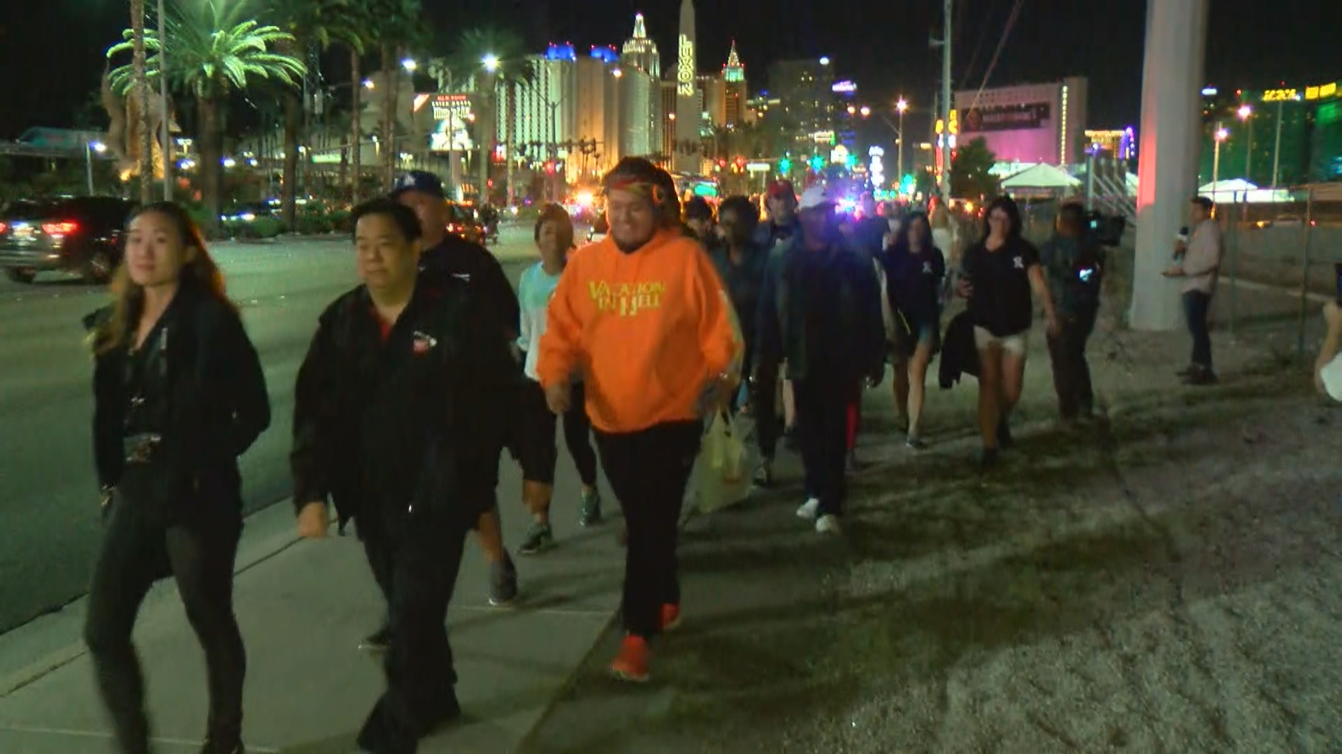 Marchers walk down the Las Vegas Strip on Sunday, October 15, 2017, in honor of the victims of the 1 October shootings. (Robert Varela/KSNV)