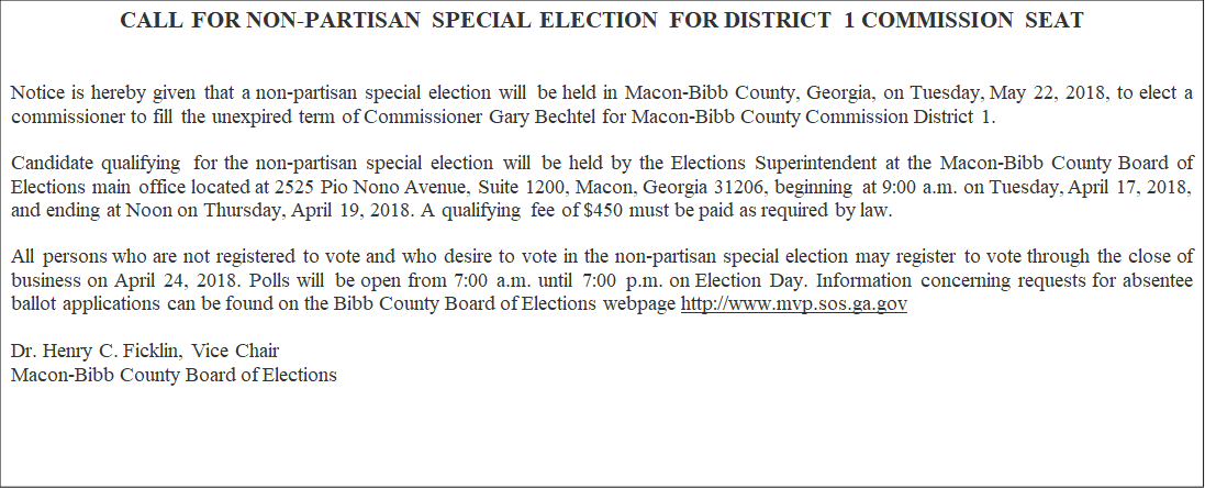 In a special meeting Friday morning, the Macon-Bibb Board of Elections voted to reverse their initial decision and instead approve a May special election to fill the vacant District 1 seat left empty by Gary Bechtel/Danielle Apolinar (WGXA)