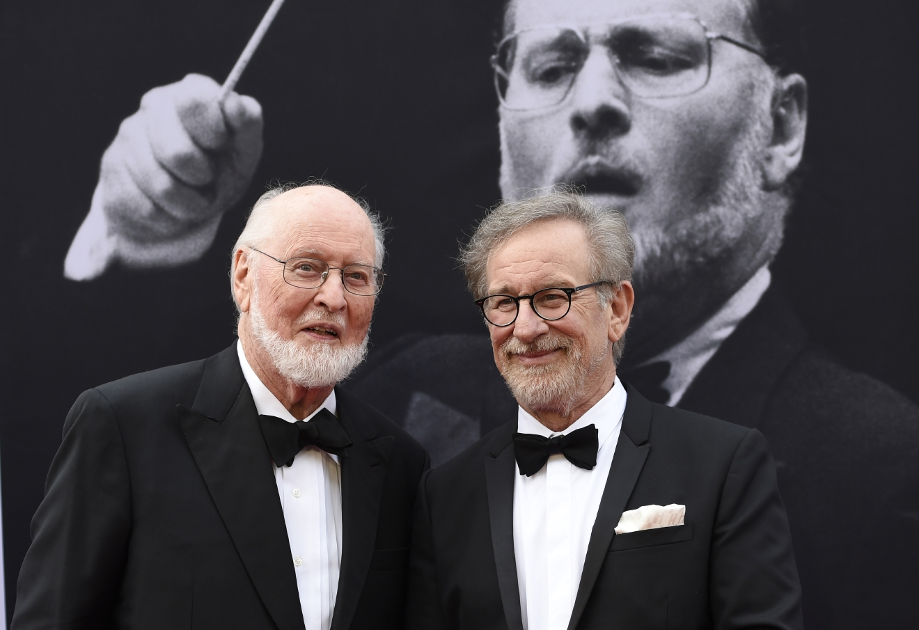 Composer John Williams, left, and director Steven Spielberg pose together at the 2016 AFI Life Achievement Award Gala Tribute to John Williams at the Dolby Theatre on Thursday, June 9, 2016, in Los Angeles. (Photo by Chris Pizzello/Invision/AP)