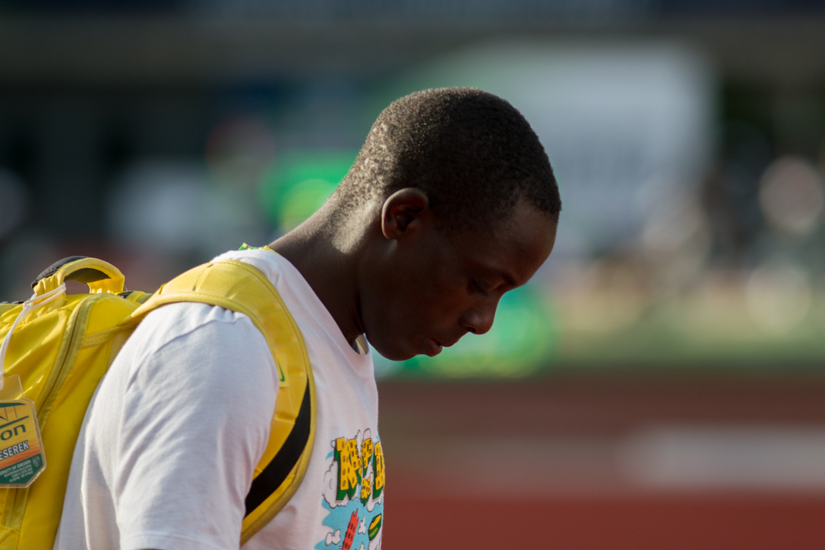 Oregon Ducks Edward Cheserek as he walks to the start of the 5000m. Oregon News, Photo by Dillon Vibes