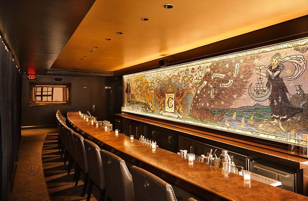 This newly re-opened cocktail den, the Columbia Room, allows you to try three ($75/person) or five ($100/person) selections from Derek Brown's ever-changing cocktail menu in the 14-seat Tasting Room. Be sure to ask the story behind the mural. (Image: Jeff Elkins)