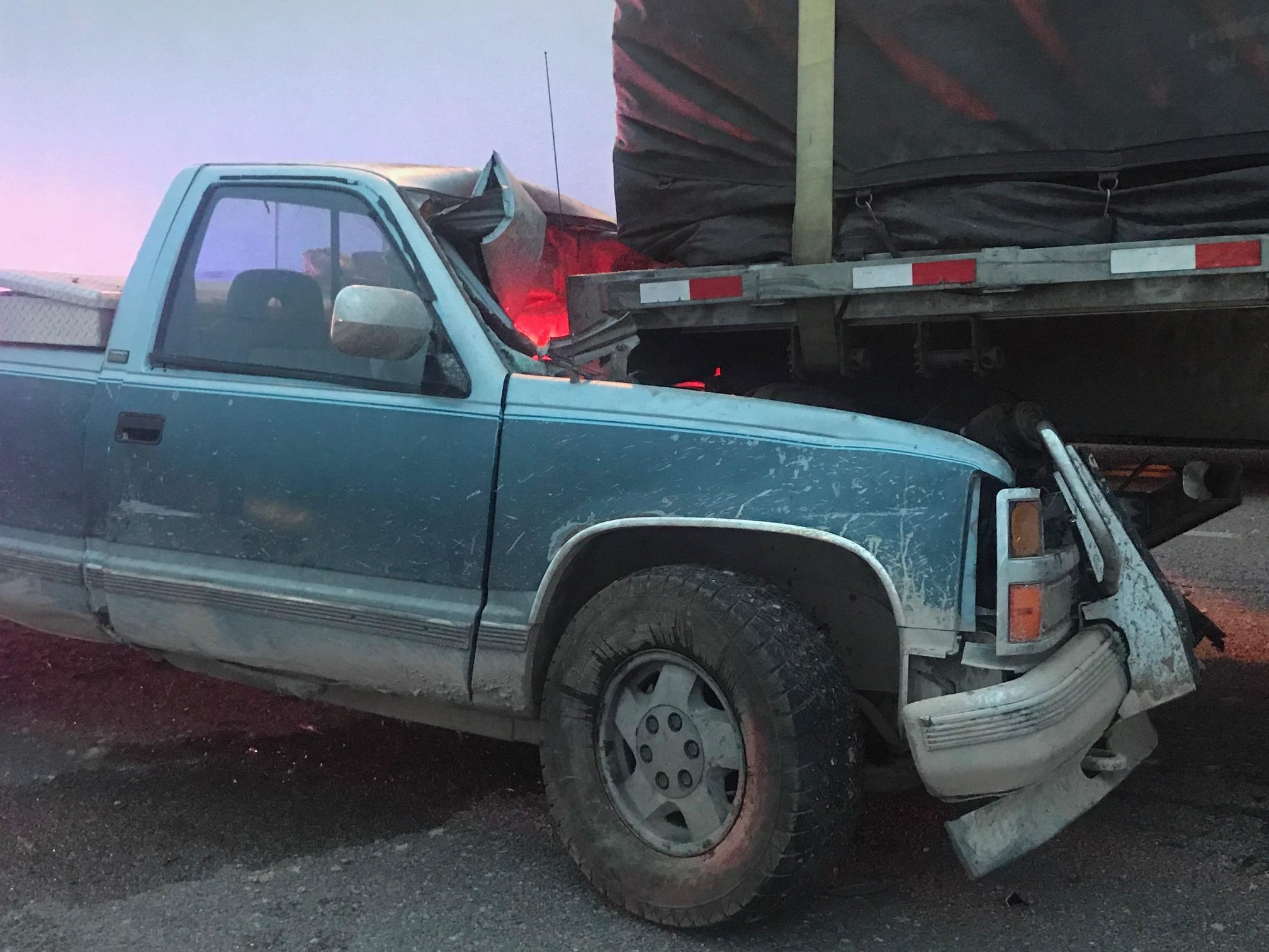 The driver of the pickup was transported to the hospital as a precaution.
