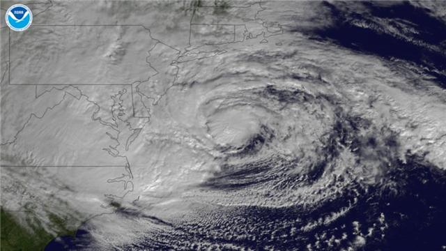 GOES-13 satellite imagery of Hurricane Sandy on 10-29-12.