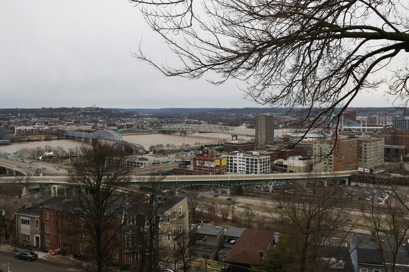 Years later, the view has changed quite a bit. The L&amp;N bridge still exists, but the Central Bridge has been replaced by the Taylor-Southgate, a new viaduct exists, and I-471 now cuts across the valley.{&amp;nbsp;}/ Image: Ronny Salerno // Published: 3.4.19<p></p>