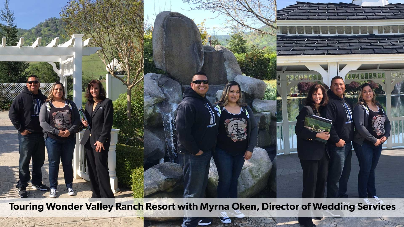 Vivian and Simon touring Wonder Valley Ranch Resort with Myrna Oken, Director of Wedding Services
