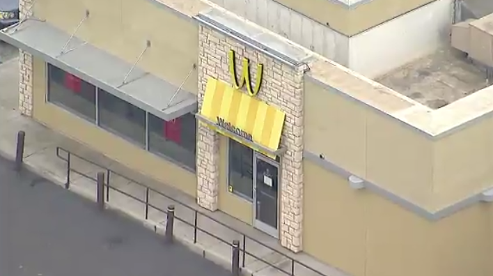 "In honor of International Women's Day, a McDonald's franchise in Lynwood, California, flipped its iconic golden arches to form a ""W."" (KABC via CNN Newsource)"