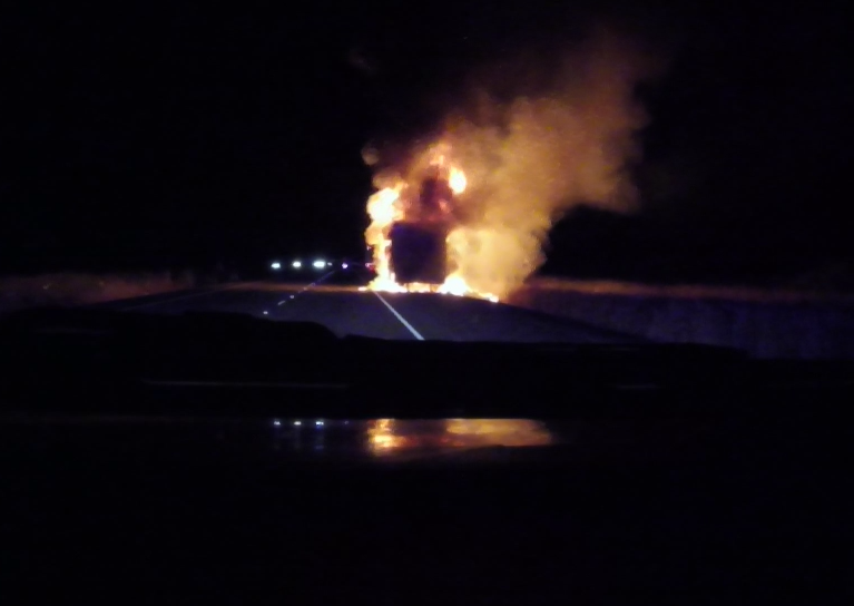 A trailer full of pineapples caught fire on Interstate 5 northbound early Friday morning. (Photo courtesy Coburg Fire)