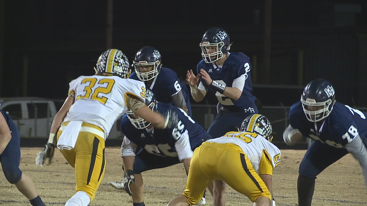 <p>In 1AA, No. 1 Mt. Airy beat No. 6 Murphy, 49-35. (Photo credit: WGHP)</p>