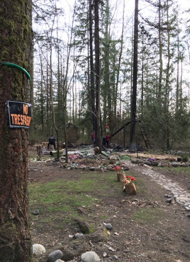 Deputies found a burned treehouse with the body of a man inside on Monday, March 12,2018 near Orting. (Photo: Pierce County Sheriff's Department)