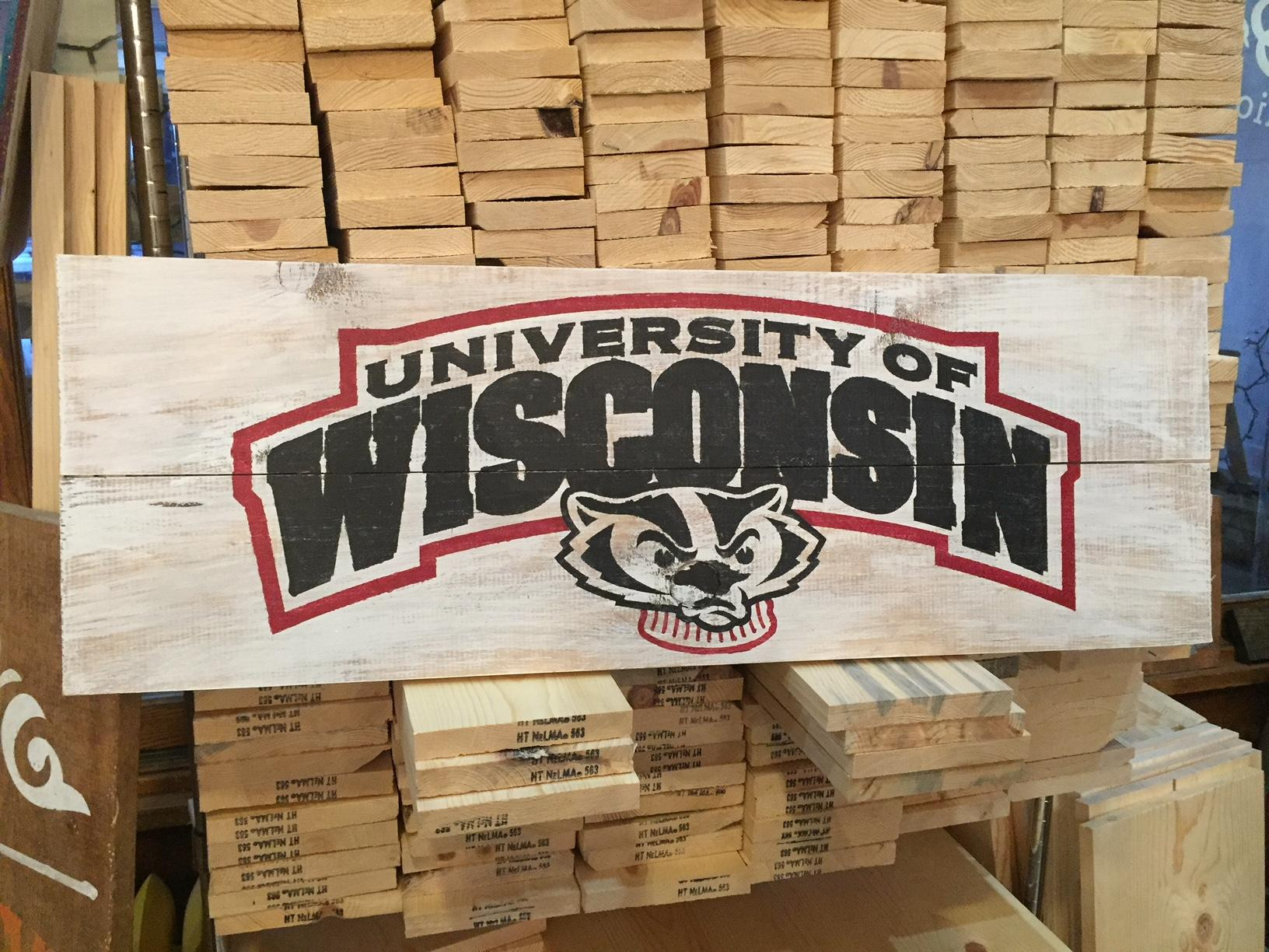 A Wisconsin Badgers board for sports fans at Board and Brush, January 27, 2018, (WLUK/Lauren Kalil)<p></p>