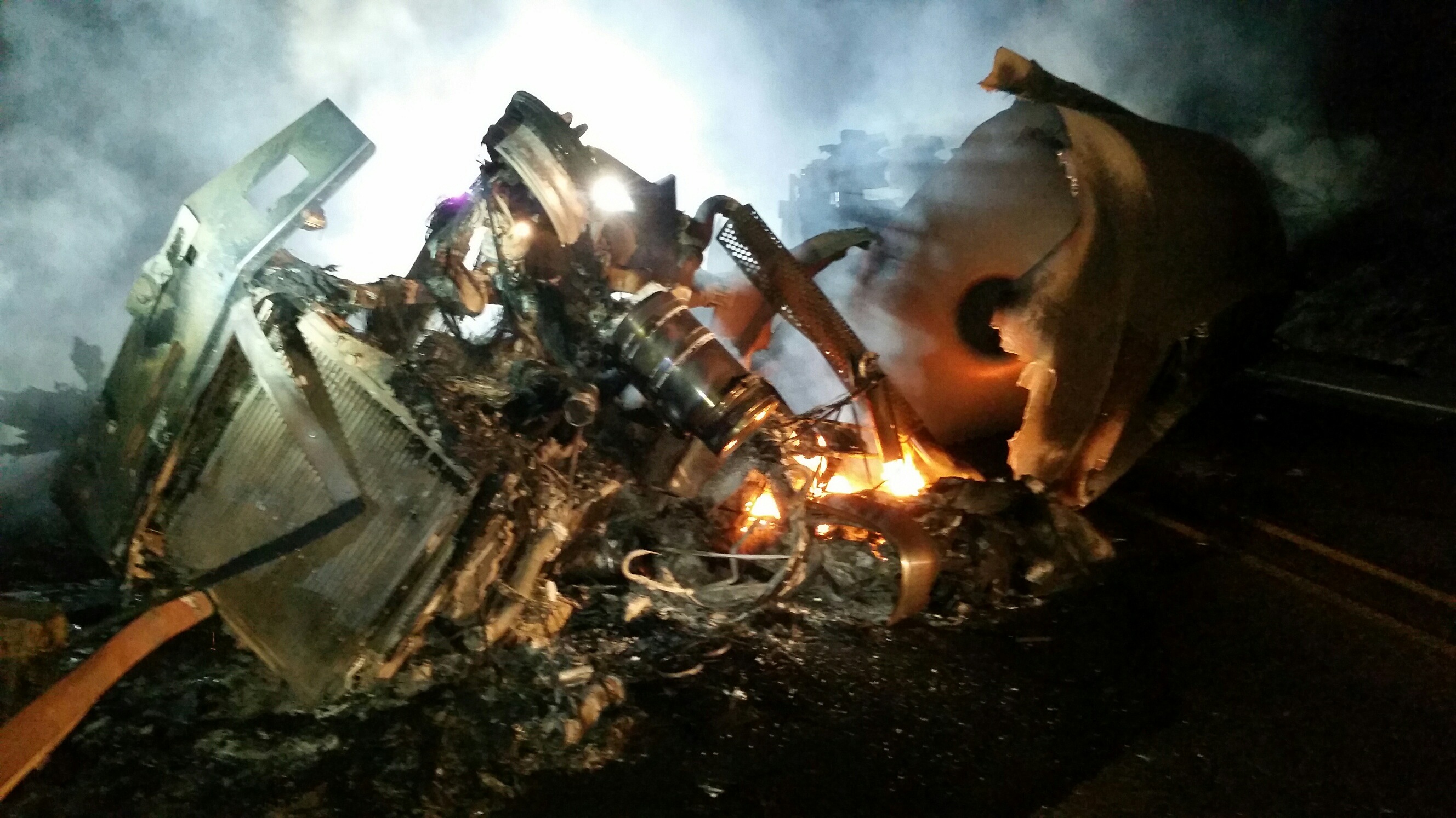 Fuel truck crashes on icy Oregon highway, killing driver and setting brush on fire