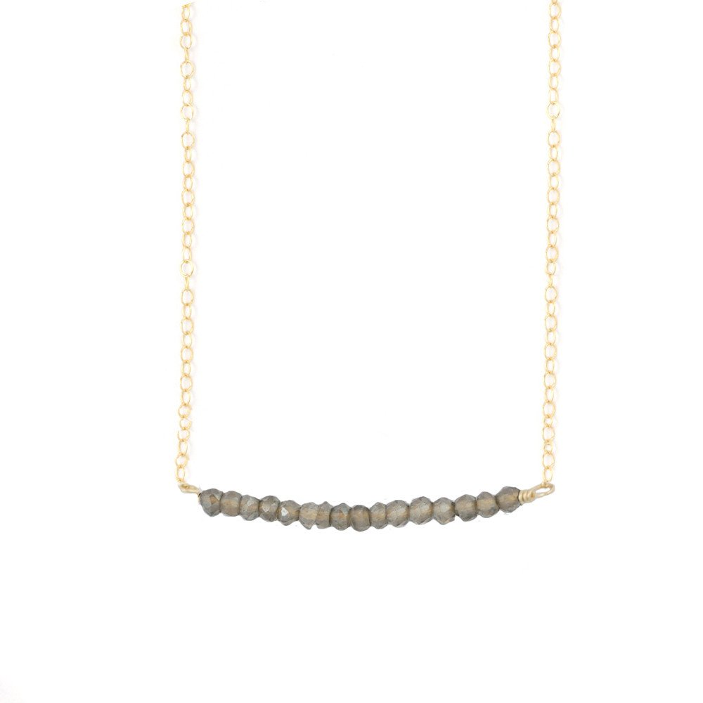 Mallory Shelter Jewelry Labradorite Beaded Bar Necklace // Price: $78 - $88 // Purchase at malloryshelterjewelry.com // (Photo: Mallory Shelter Jewelry)