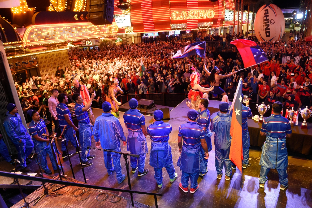 "The Samoa national team takes the stage during the USA Sevens rugby ""Parade of Nations"" Thursday, March 3, 2017, at the Fremont Street Experience. CREDIT: Sam Morris/Las Vegas News Bureau"
