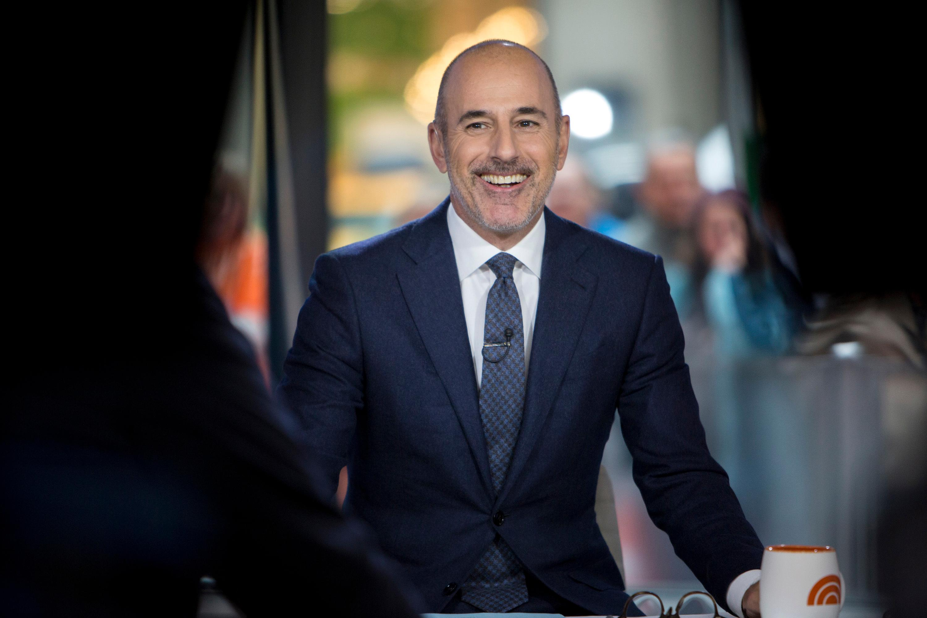"This Nov. 16, 2017 photo released by NBC shows Matt Lauer during a broadcast of the ""Today,"" show in New York.  NBC News fired the longtime host for ""inappropriate sexual behavior."" Lauer's co-host Savannah Guthrie made the announcement at the top of Wednesday's ""Today"" show. ( Zach Pagano/NBC via AP)"