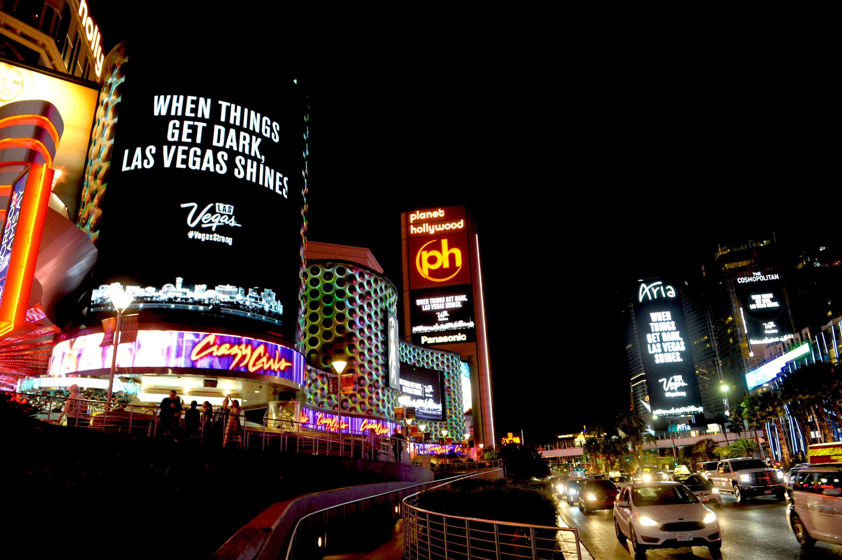 This evening, the Las Vegas community dimmed the lights of its digital marquees for 11 minutes to honor the victims and heroes of last week?s tragic event. From 10:05 to 10:16 p.m., marquees along the Strip and across the Las Vegas Valley remained dim and the city collectively respected those affected with a moment of darkness.Following the tribute, digital marquees throughout the city displayed a message of resilience:  When Things Get Dark, Las Vegas Shines. This message will remain in rotation until Monday morning. Sunday, October 8, 2017. CREDIT: Glenn Pinkerton/Las Vegas News Bureau