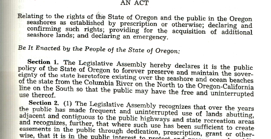 The beginning of the text of the 1967 legislation that came to be known as the Oregon Beach Bill. (Oregon Secretary of State records)