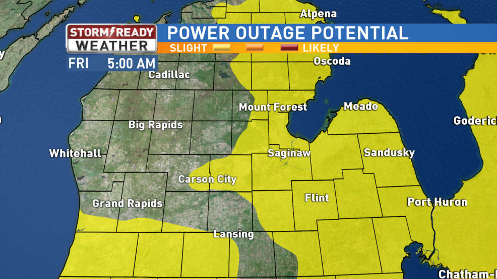 Scattered Power Outages Possible As Strong Winds Gust Into Mid