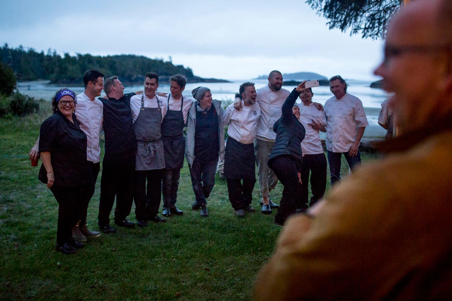 A hundred guests gathered around for the third annual Feast Tofino Long Table Dinner to experience the six courses prepared by local chefs, and hosted by Food Network's celebrity chef Lynn Crawford. The local chefs were Lora Kirk of Ruby Watcho, Tim May of Red Can Gourmet, Robbie Elliot of Shelter, Lisa Aheir of SOBO, Paul Moran of Tofino Resort + Marina, Warren Barr of The Pointe at the Wickaninnish Inn, and Nick Nutting of the Wolf In The Fog. This is was one memorable experience! (Sy Bean / Seattle Refined)