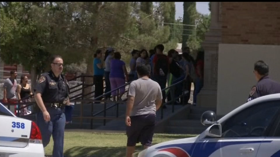 Students, staff at Austin High School were dealing with a lockdown Thursday, May 18, 2017. Parents waited outside the school until they were allowed access to their children. (Credit: KFOX14/CBS4)