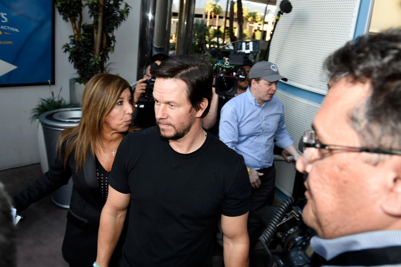 Actor Mark Wahlberg arrives at a VIP event at Wahlburgers Las Vegas in the Grand Bazaar Shops at Bally's Tuesday, March 28, 2017. [Sam Morris/Las Vegas News Bureau]