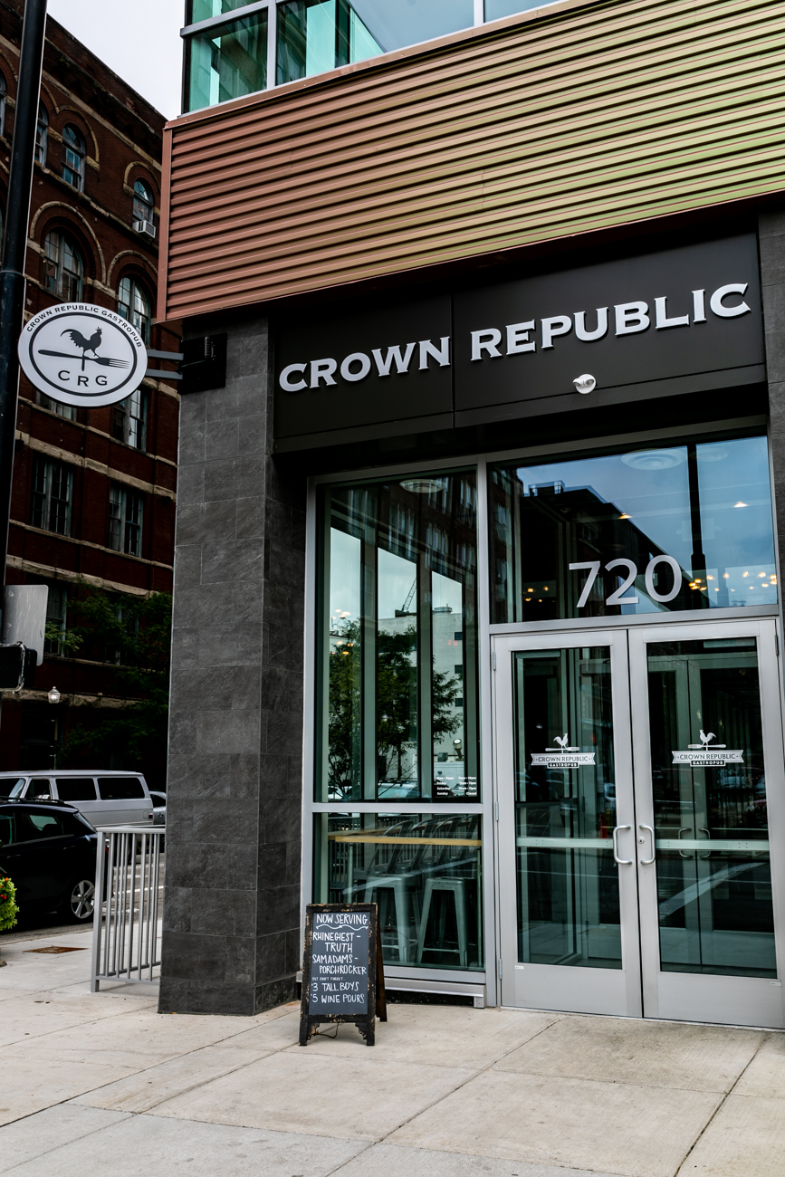 "Crown Republic Gastropub describes its menu as ""rustic American fare."" The restaurant, located in the Encore Urban Living building Downtown, offers a variety of dishes for every meal of the day. Diners can order traditional burgers and salads with the option to enjoy more adventurous choices, such as octopus tabbouleh and cuttlefish tagliatelle. Crown Republic intersects the upper-scale dining aesthetic while being firmly rooted in a casual, comfortable atmosphere. ADDRESS: 720 Sycamore Street (45202) / Image: Amy Elisabeth Spasoff // Published: 8.20.18"