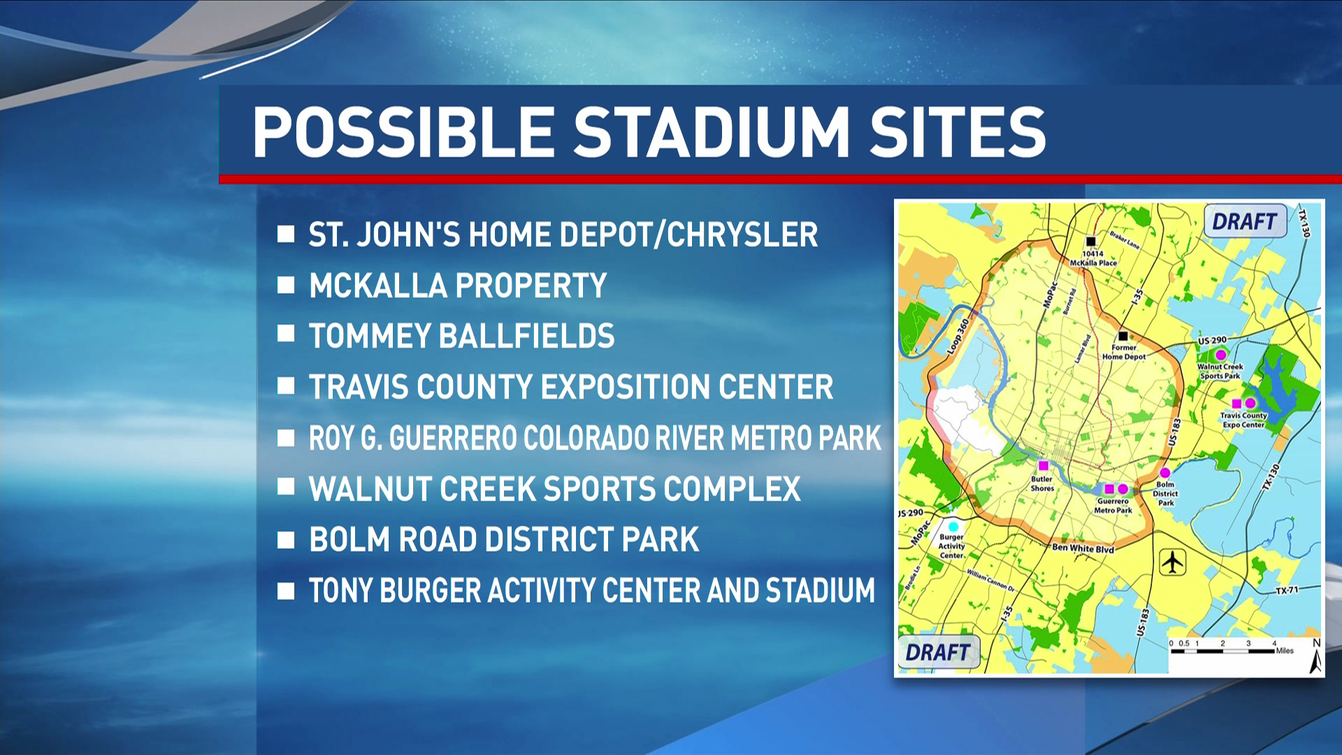 The City of Austin has released an official list of potential sites for a Major League Soccer stadium. (Image courtesy: City of Austin)