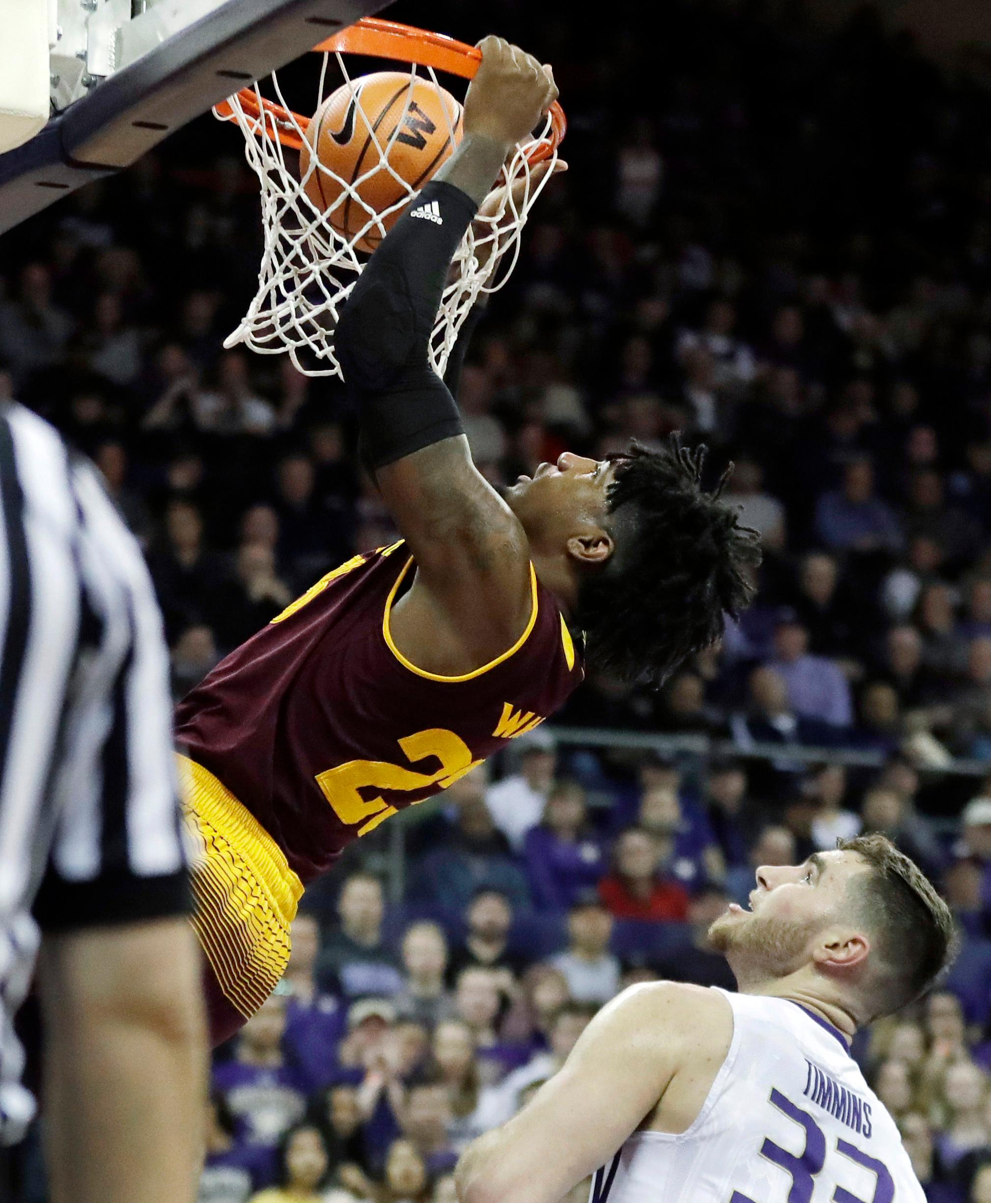 Arizona State Arizona State forward Romello White dunks above Washington forward Sam Timmins, lower right, in the first half of an NCAA college basketball game, Thursday, Feb. 1, 2018, in Seattle. (AP Photo/Ted S. Warren)