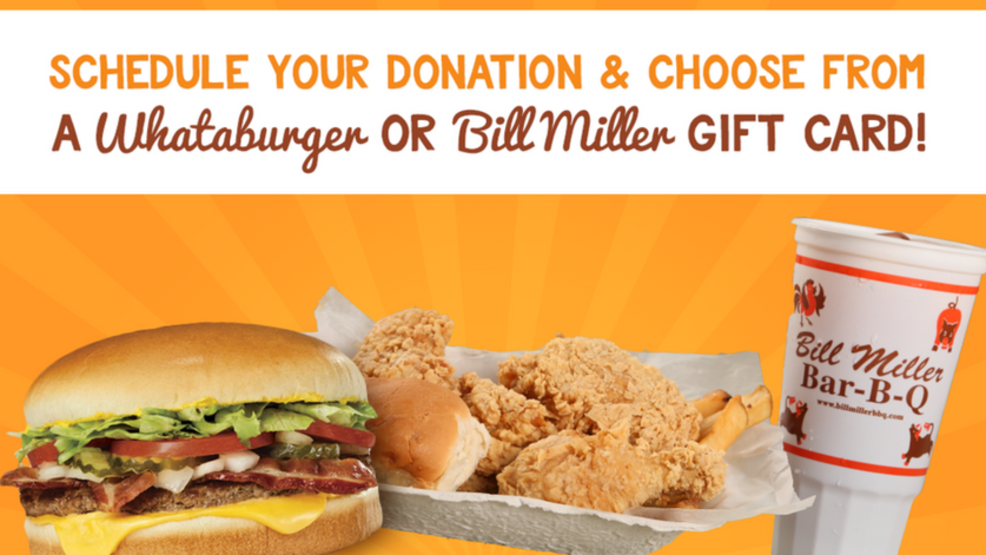 Donate blood and get a Whataburger or Bill Miller's gift ...