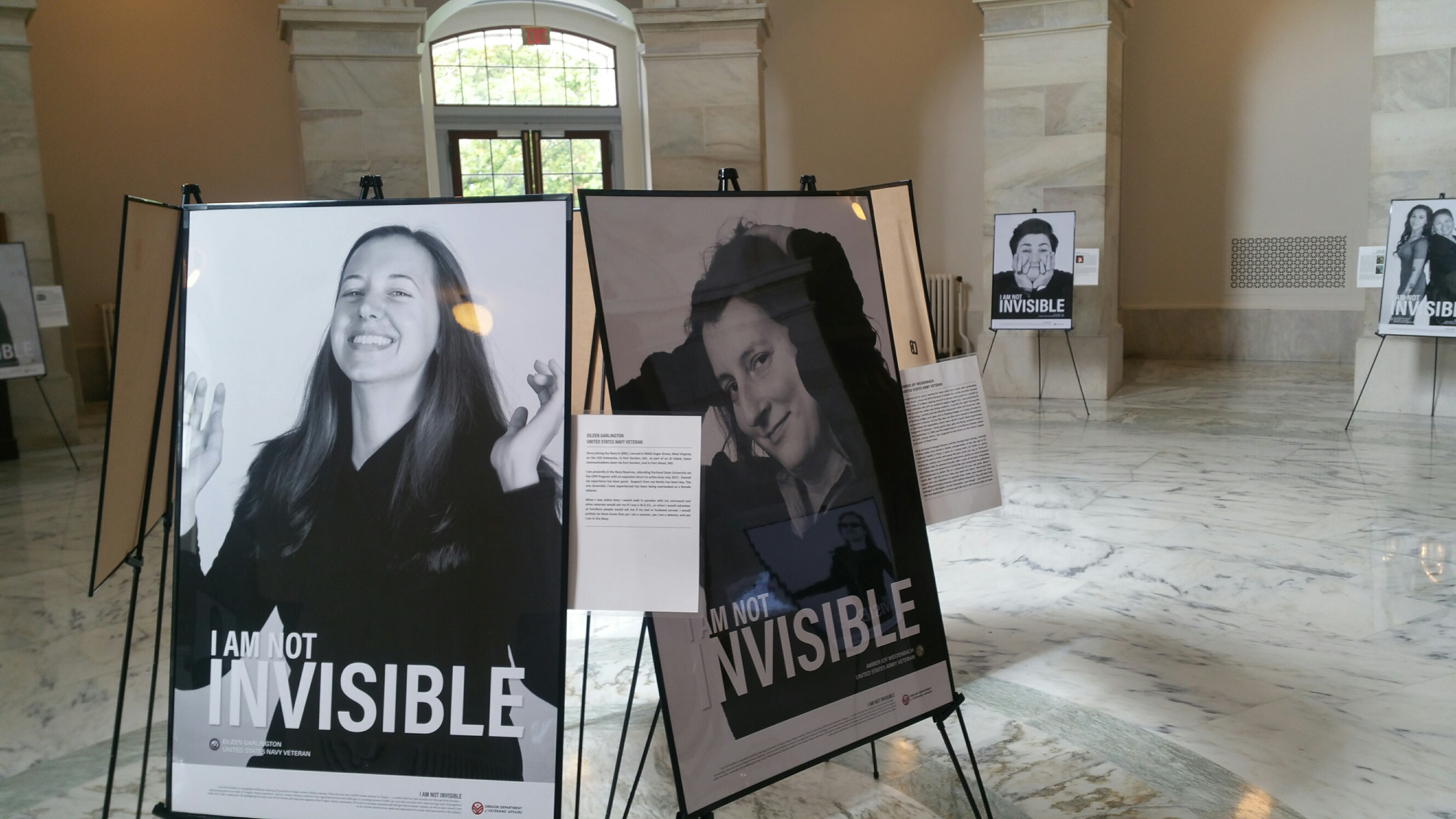 'I Am Not Invisible' on display in the Russell rotunda{&amp;nbsp;}(courtesy Oregon Dept. of Veterans' Affairs)<p></p>