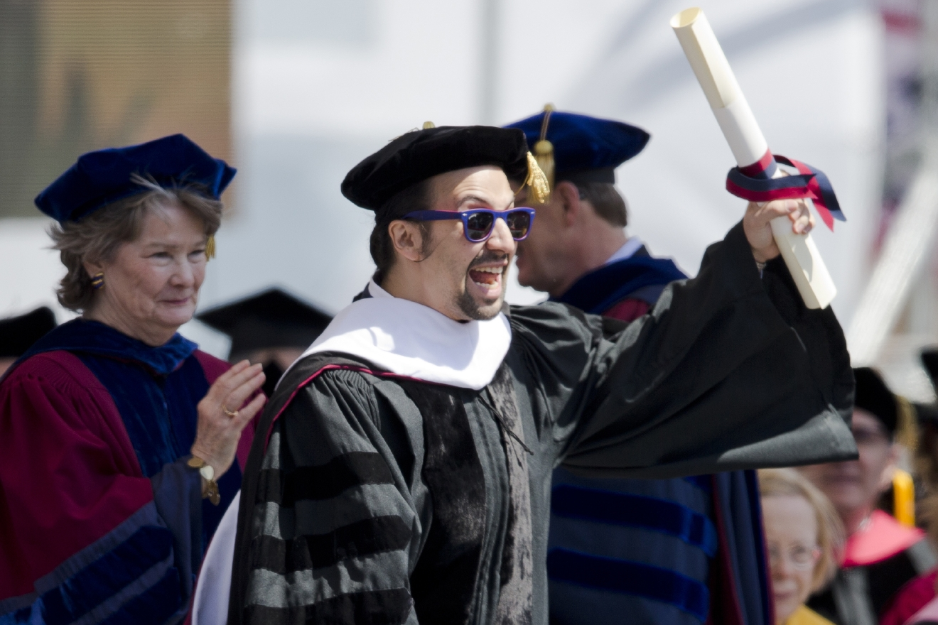 "Lin-Manuel Miranda, creator of the Broadway musical ""Hamilton,"" gestures after receiving an an honorary degree during the University of Pennsylvania commencement ceremony, Monday, May 16, 2016, in Philadelphia. (AP Photo/Matt Rourke)"