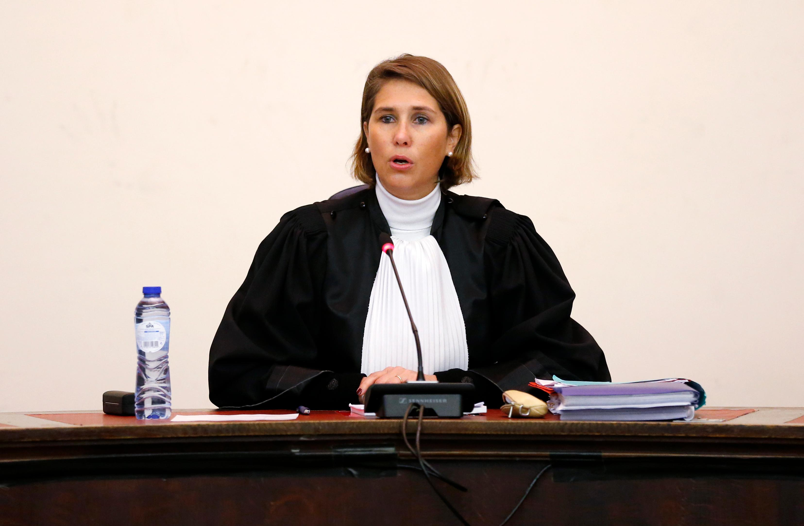 Belgian Judge Marie-France Keutgen presides over the second day of the trial of Salah Abdeslam and Soufiane Ayari at the Brussels Justice Palace in Brussels on Thursday, Feb. 8, 2018. (Francois Lenoir, Pool Photo via AP)