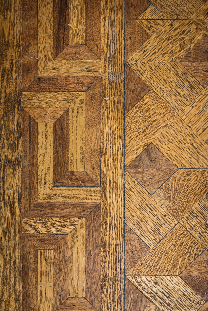 Designs in the wood floors are complex and beautiful. / Image: Phil Armstrong, Cincinnati Refined // Published: 1.30.19