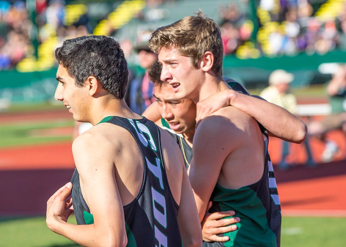 Summit wins the 5A Boys 4x400 meter relay with a time of 3:24.33 at the OSAA State Track Championships at Hayward Field on Saturday. Photo by James Wegter, Oregon News Lab