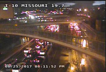 I-10 was at a standstill after flooding forced the closure of three lanes near Porfirio Diaz. Courtesy: TXDOT
