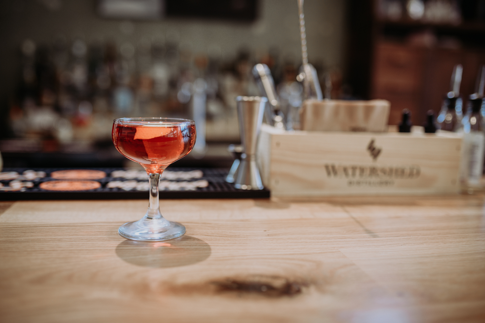 The Negroni: Watershed Distillery Four Peel gin, Campari, and Dolin Rouge vermouth / Image: Brianna Long // Published 11.8.17<p></p>