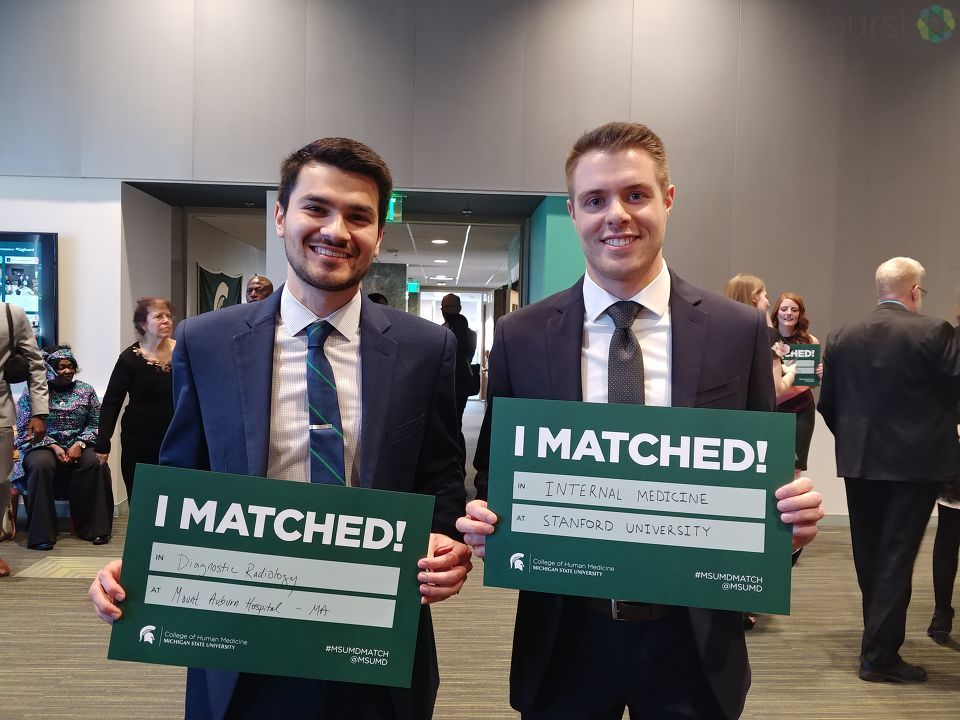 Michigan State University College of Human Medicine's fourth-year medical students tore open sealed envelopes to learn their destinations as future physicians on Match Day. (WEYI/WSMH)