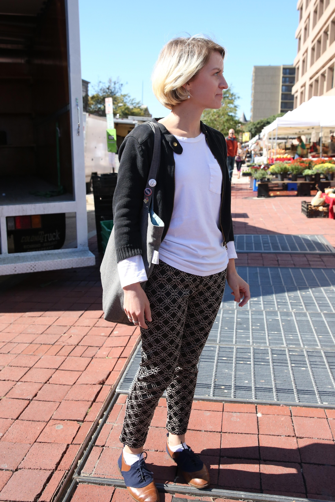 Patterned pants add a little sophistication to casual outfits.  (Amanda Andrade-Rhoades/DC Refined)